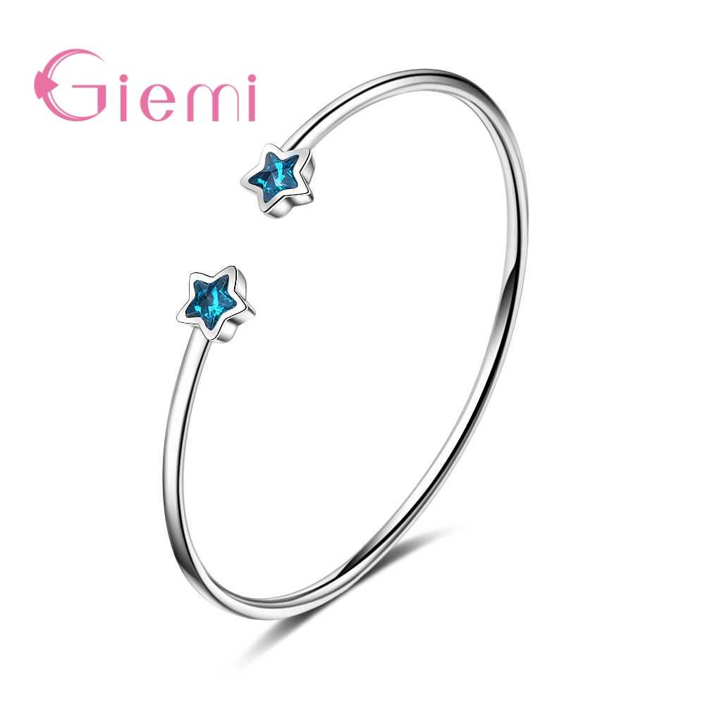 Genuine Good 925 Sterling Silver Bracelets For Women Ladies Popular Bule Star Cubic Zirconia Jewelry Crystal Present