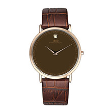 IBSO New Fashion Casual Ultra Thin Stainless Steel Watch with Genuine Leather Band Quartz Men's Watches 2220G