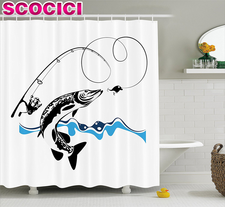 Fishing Decor Shower Curtain Pike Fish Catching Wobblers Reel Trap In River Raptorial Predator Print