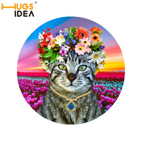 3D Cartoon Round Mats Non Slip Mat Living Room Bedroom Bedside Carpet Home Decoration Lovely Cat