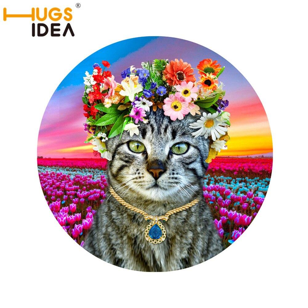179552b69 Hugsidea 3d كارتون جميل القط جولة السجاد ل غرفة المعيشة السجاد سجاد المنزل  الملونة الزهور الرعوية alfombra tapete
