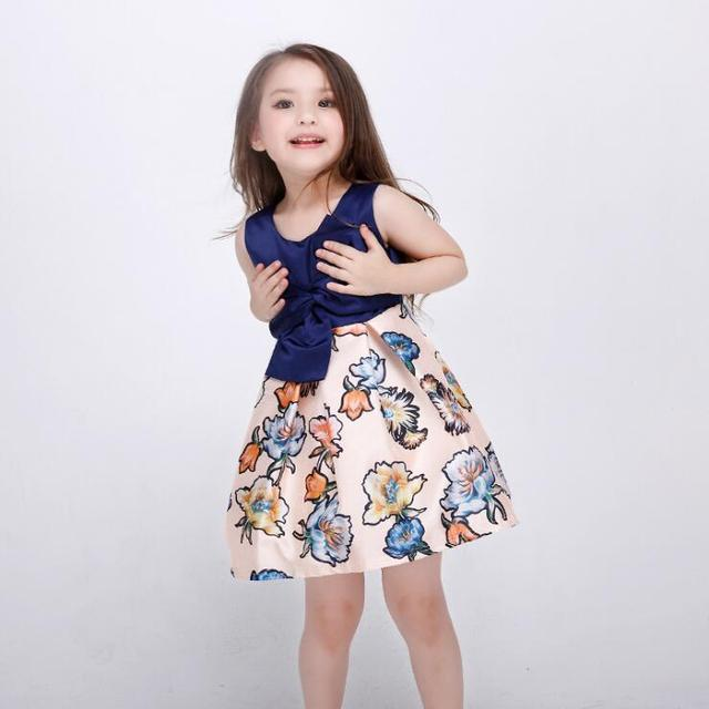 f083f1c7f3 2016 brand design tribute silk baby girl flower dress children frock dresses  with bows on the waist elegant baby formal costume