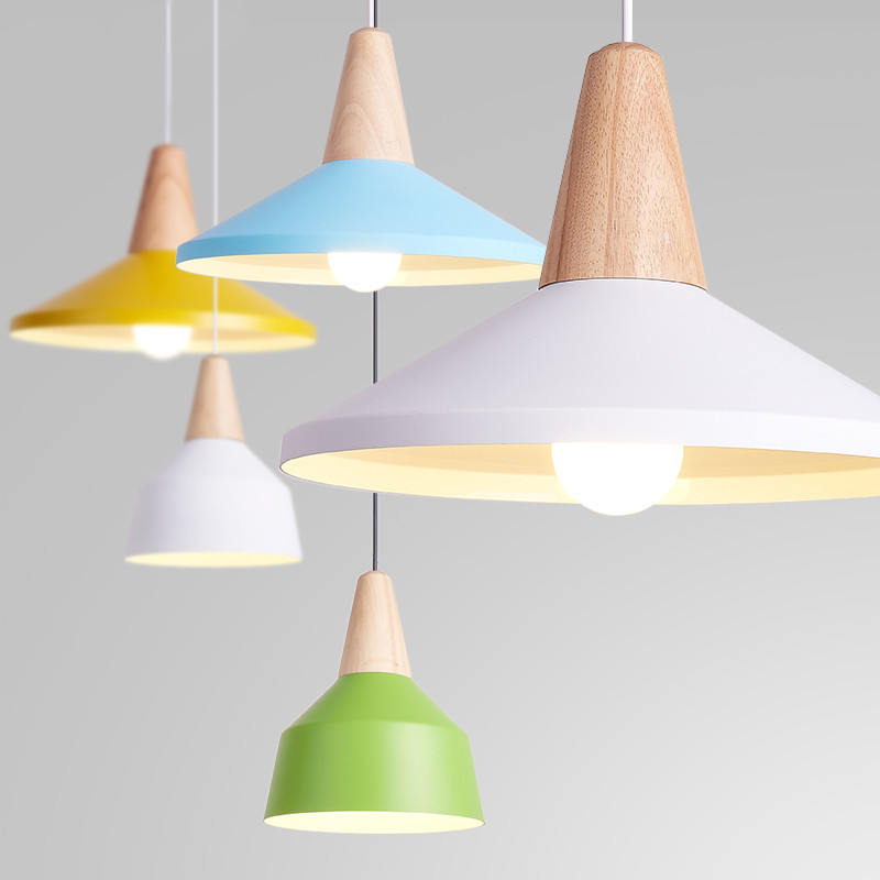 Modern Pendant Light Wood And Aluminum Lamp Colorful Restaurant Bar Coffee Dining Room LED Hanging Lamp Kitchen Light Fixtures