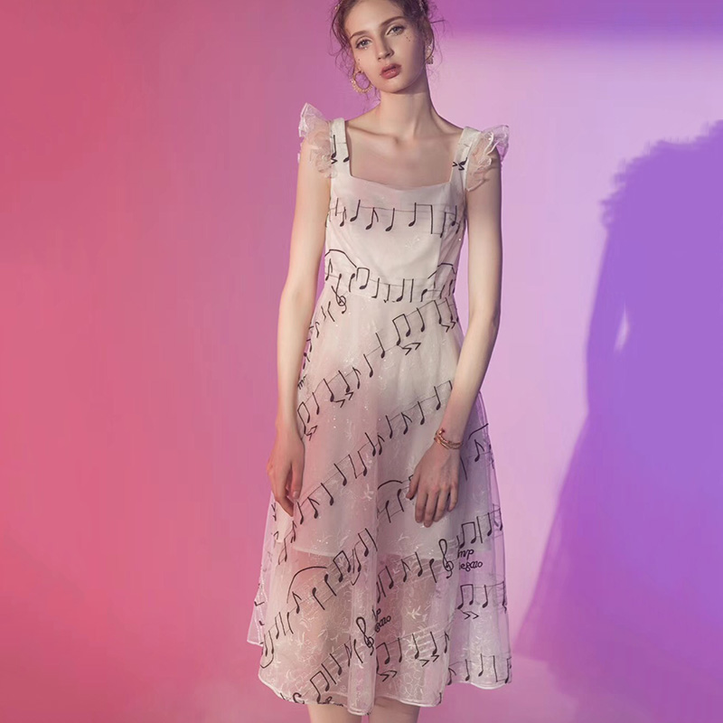 Women's Clothing 2017 Sweet Woman Dress Girl Long Sleeve Piano Keys Printed Mini Dress High Waist Thin Stripe Dresses New Fashion Vestidos Sp20a