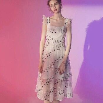 e2e9e7f1562 Великолепные музыкальные ноты платье с вышивкой сладкий для женщин без  рукавов Бабочка