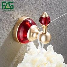 FLG Robe Hook Wall Coat Hooks Space Aluminum Red Crystal & Glass Towel Rack  Bathroom Accessories