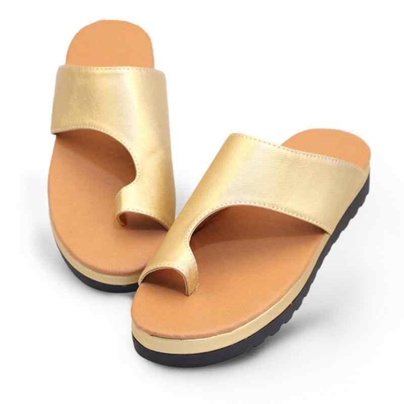 Donne all'aperto Comodi Della Piattaforma del Sandalo Scarpe Piedi Corretto Ispessito di Strada DELL'UNITÀ di elaborazione di Cuoio Suola Piatta Delle Donne Sandali Da Spiaggia