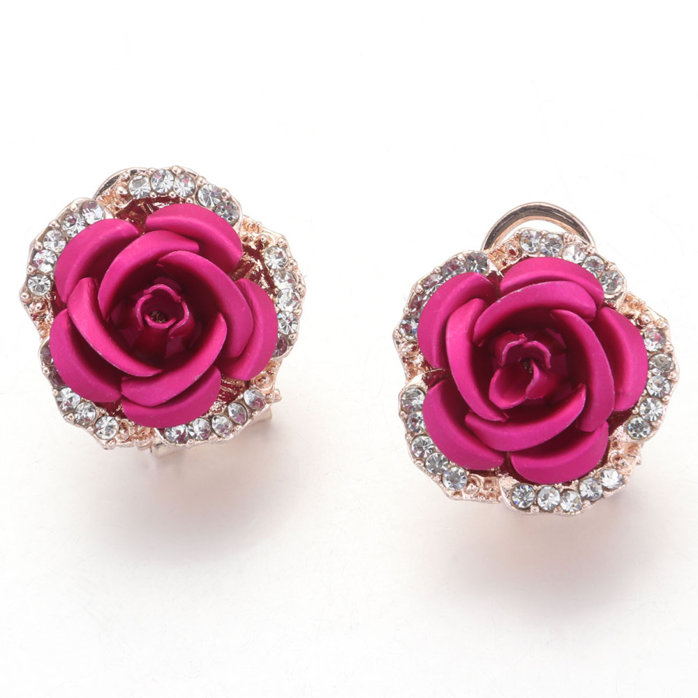 Rose Flower Stud Earrings Womens 3D Big Rose Red Crystal Button Earring Engagement jewelry ...