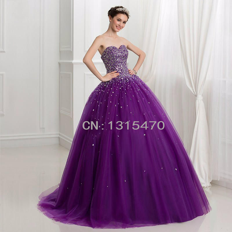 d12ed9b3ee8 2016 Crystal Beaded Sexy Lace Up Princess Prom Dress Puffy Ball Gown Purple  Quinceanera Dresses Sweet 16 Dress Quinceanera Gow-in Quinceanera Dresses  from ...