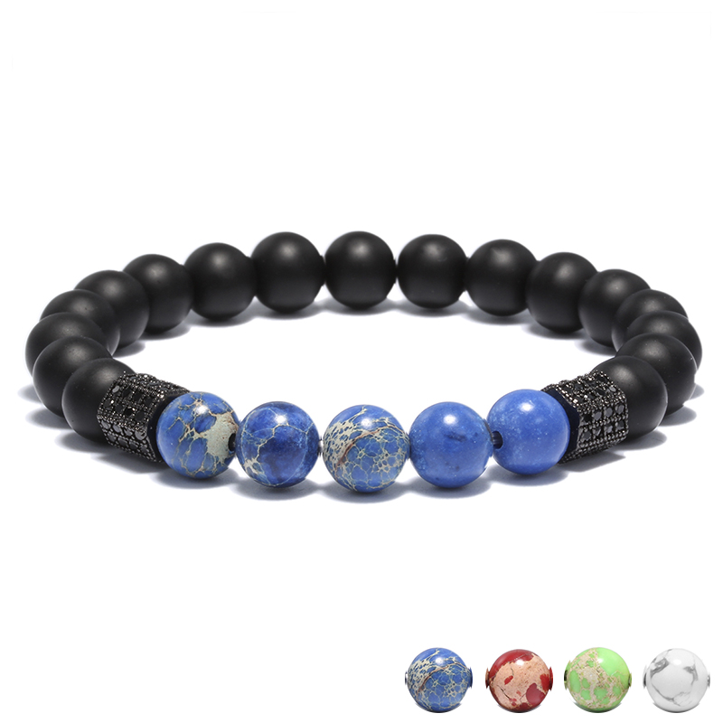 Blue Gem Geometric Rivet Natural Stone Charm Bracelets For Women Men 4 Color Stretch Wrap Bracelet Hand Jewelry Wholesale