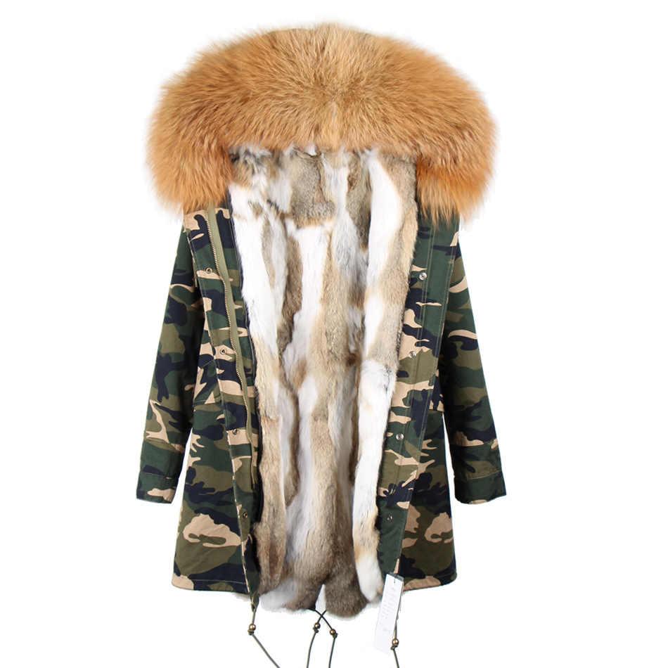 Furlove אופנה נשים הצבא הירוק צווארון דביבון פרווה גדול סלעית מעיילי מעיל ארוך להאריך ימים יותר חורף אוניית פרוות ארנב רקס מעיל