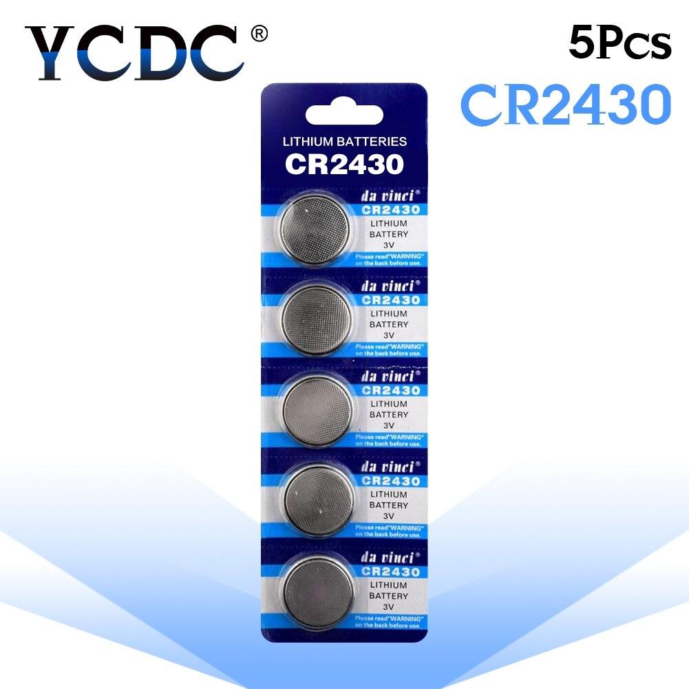 5 unidades/pacote baterias de botão cr2430 dl2430 br2430 kl2430 pilha moeda bateria de lítio 3 v cr 2430 para assistir brinquedo eletrônico remoto