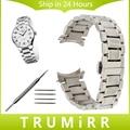 19mm 20mm pulseira curvo fim de aço inoxidável faixa de relógio cinta para longines master l2 butterfly fivela de cinto pulseira prata
