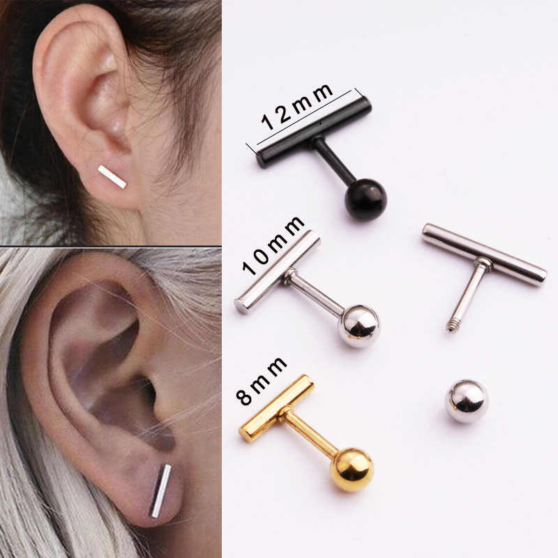 Sellsets 1pc punk women simple tiny fashionable ball bar ear tragus helix rook cartilage daith piercing jewelry
