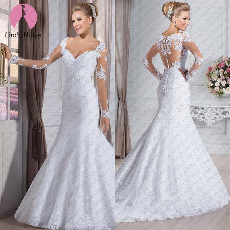 Casamento Sexy V Neck Long Sleeves Mermaid Wedding Dresses 2019 Bridal Wedding Gowns Vestido De Noiva Sereia Manga Longa Branco