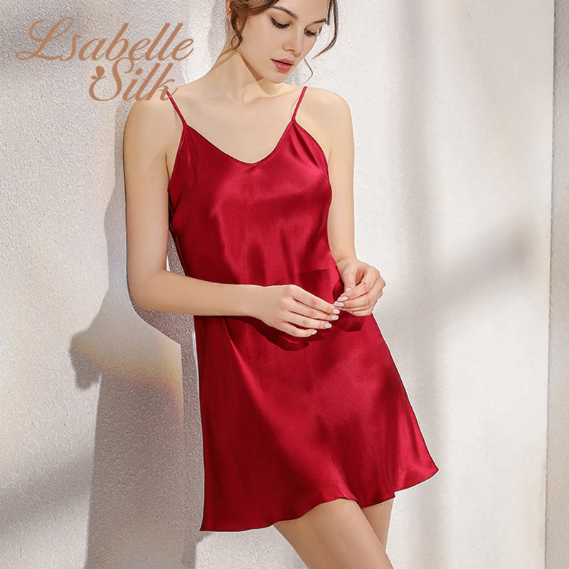 2019 Novo 100% seda Natural gecelik deslizamento mulheres nuisette sexy sleepwear nightwear noite pijamas vestido camisola noite vestido nighty