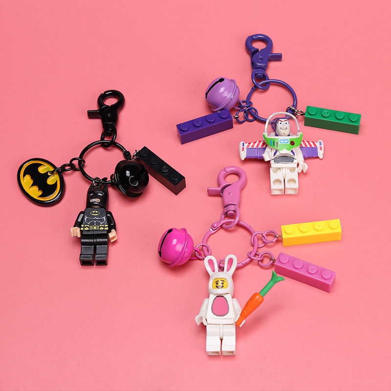 2019 New Creative Keychain Cartoon Block Superhero Bass Superman Batman Fortuna Car Key Chain Bag Pendant Small Gift