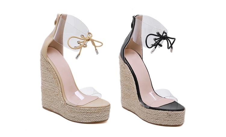 Aneikeh Fashion PVC Sandal Women Transparent Sandals Lace-Up Wedges High Heels Black Gold Party Daily Pumps Shoes Size 35-40