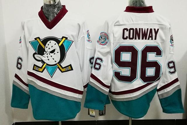 5c73cb112 Ediwallen Anaheim Ducks 96 Charlie Conway Jersey Men The Mighty Ducks Movie  Green 1993 Vintage Ice Hockey Jerseys Purple White