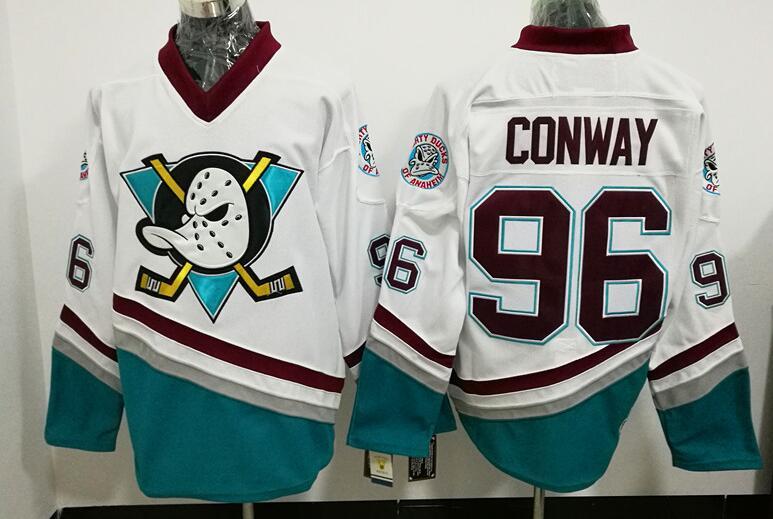 Ediwallen Ducks d'anaheim 96 Charlie Conway Jersey Hommes Les Mighty Ducks Film Vert 1993 Vintage Hockey Sur Glace Jersey Pourpre Blanc