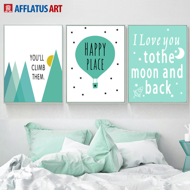 Cartoon Balloon Mountain Moon Love Quotes Wall Art Canvas Painting