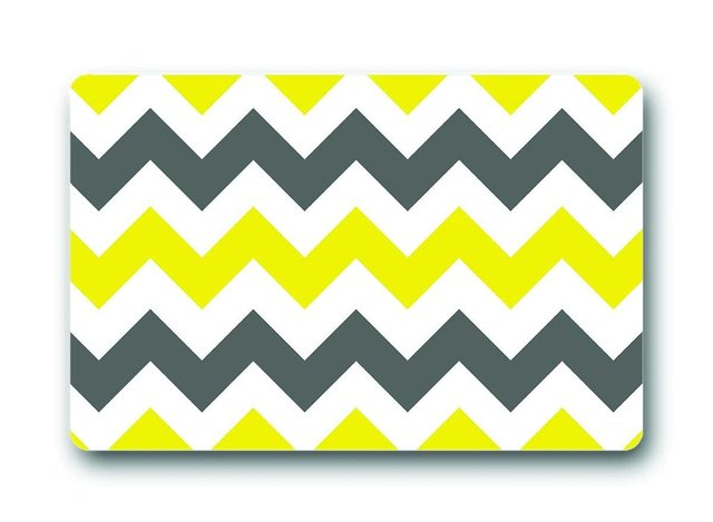 Yellow and Gray Wave Stripes Pattern for Front Door Floor Mat Non ...