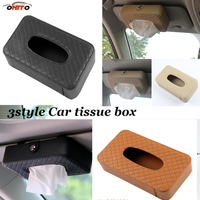 Practicality Auto Sun Visor Seat Hanging Type Leather Car Tissue Box Case Holder Napkin Paper Tissue