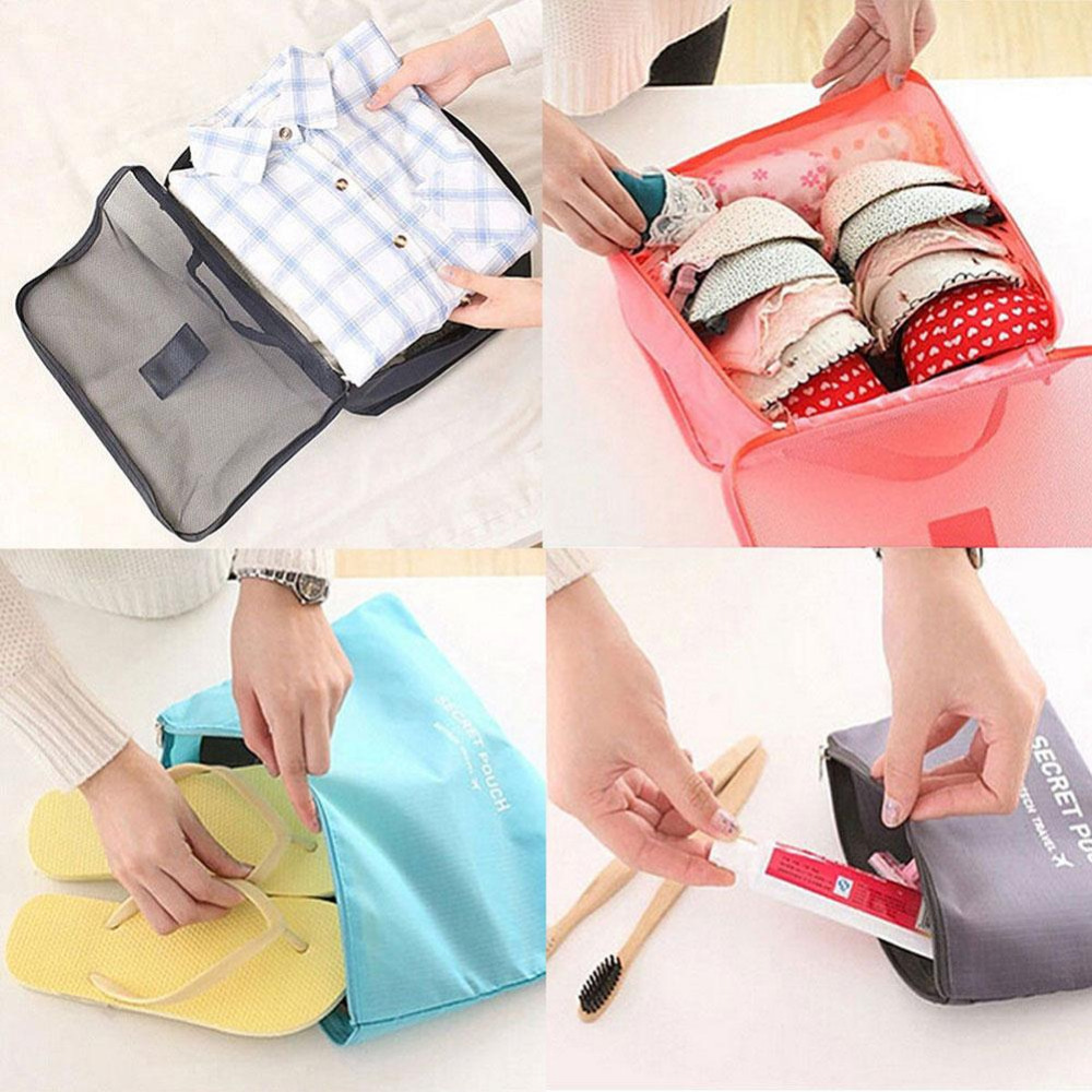 6 Pcs/lot Clothes Storage Bags Packing Cube Travel Clothing Organizer Pouch