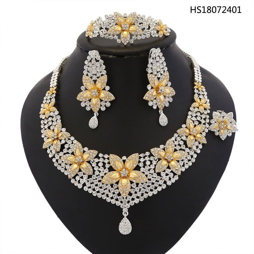 YULAILI Free Shipping Golden Plated Round Opal Stone Zinc Alloy Jewelry Set for Women Luxury Wedding Bridal retro style zinc alloy owl earrings for women golden