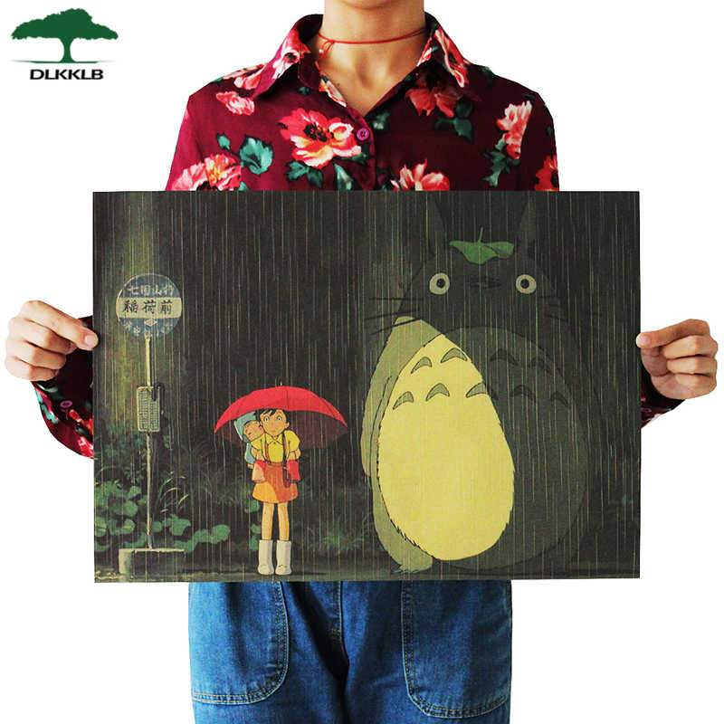 Dlkklb Vintage Cartoon Anime Totoro Poster Home Decor Retro Kraft Paper Wall Sticker Decorative Paintings 51.5x36cm Room Decor