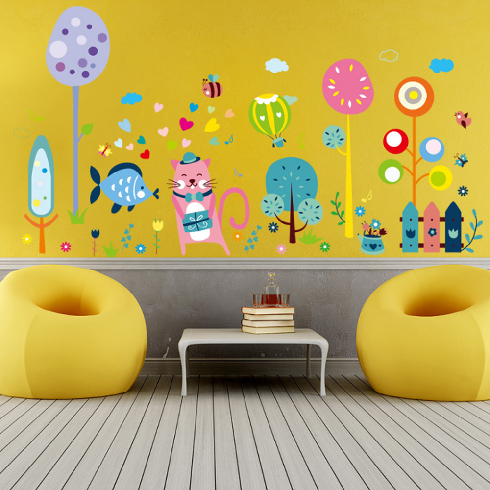 Tree Animals Heart Shape Balloon Birds Wall Decal Home Sticker Paper ...