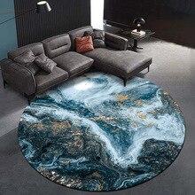 Fashion modern abstract golden blue Sea starry sky rug living room floor mat bedroom Round custom made velvet plush carpet