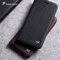 Fierre Shann For IPhone 7 7 6 6S Plus Luxury Toothpick Pattern Genuine Leather Flip Case