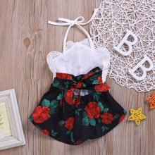 Baby Girl Romper Sleeveless Flowers Print Jumpsuit