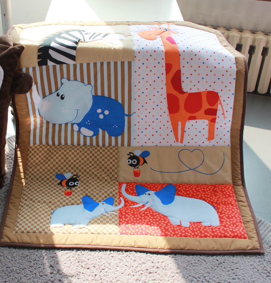 Bumper for crib for sale - 3d Stereo Embroidery Giraffe Hippo Elephants Bees 6 Pieces Baby Crib Cot Bedding Set Quilt Bumper