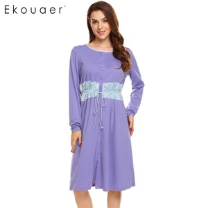 Image 2 - Ekouaer Women Vintage Sleep Dress Women Sleepwear Long Sleeve Lace Patchwork Button Down Sleepshirt Nightgown Sleep Lounge Dress