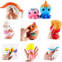 Squishy Jumbo Coffee Cup Squishes Slow Rising Antistrss Cat Hamburger Fries Squishies Stress Relief Toy Kids