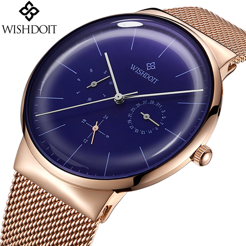 купить 2018 Watch WISHDOIT Mens Watches Top Brand Luxury Fashion Quartz Watch Men Casual Full Steel Grid Strap Waterproof Sport Watch по цене 679.98 рублей