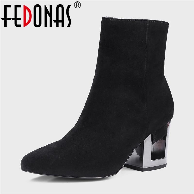 Fedonas Scarpe Suede Stivaletti Comfort Office Heels Cow Short Pumps Square Cow New Elegant Toe Donna High Suede Women Zipper Quality Leather Cow Martin xZZBvrqI
