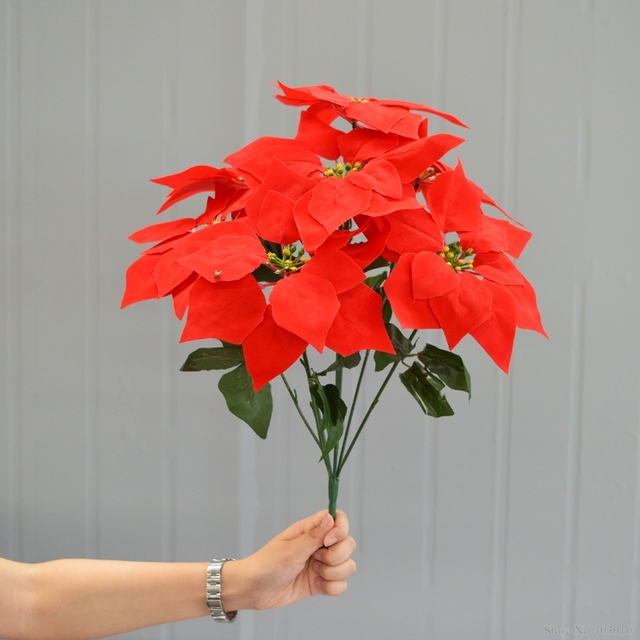 Artificial Christmas Flowers.Us 3 8 20 Off Red Leaf Emulate Bonsai 1 Bouquet Poinsettia Posy Decorative Artificial Christmas Flowers Fake Pot Plants Home Decor Without Pot In