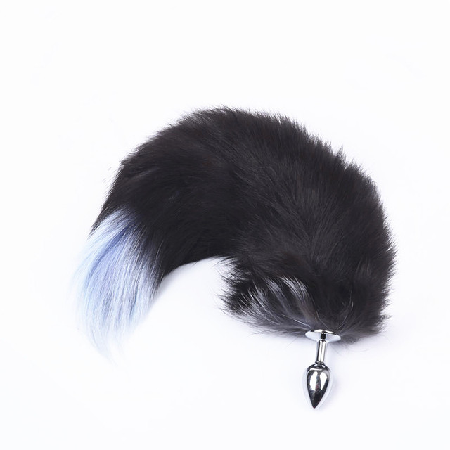 Valentines Day Gift Stainless Steel Butt Plug Fox Tail Cosplay Metal Plug Dog Tail Girl Birthday Gift 40cm