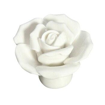 10 шт. Винтажные розы керамические дверные ручки ручка ящик белый