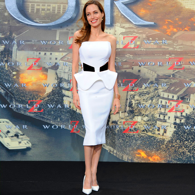 834b0464b6d Angelina Jolie Sexy White Red Carpet Dresses Strapless Off Shoulder White  Satin Evening Celebrity Dresses