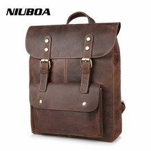 NIUBOA Leather Man Backpack 100% Genuine Leather Man Bag High Quality Crazy Horse Men Shoulder Bag School Travel Laptop Back Bag