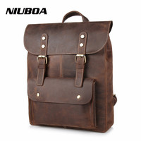 NIUBOA Leather Man Backpack 100% Genuine Leather Man Bag High Quality Crazy Horse Men Shoulder Bag School Travel Laptop Back Bag