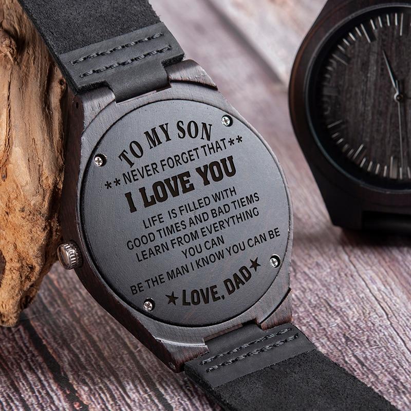 Reloj con grabado en madera para hombres, relojes personalizados para regalo familiar, reloj para regalo especial de padrino de bodas, excelente presente para hombre, envío directo