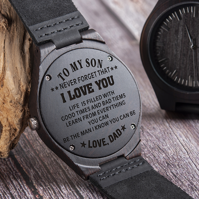 Wood Engraving Men Watch Family Gifts Personalized Watches