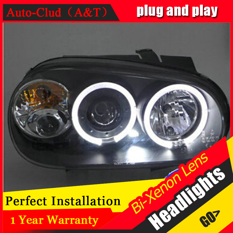 Auto Clud vw golf 4 98-05 headlights Angel Eyes light + xenon lens LED car light H7 h1 led light car styling auto pro for honda fit headlights 2014 2017 models car styling led car styling xenon lens car light led bar h7 led parking