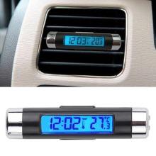 2in1 Car Auto LCD Clip-on Digital Temperature Thermometer Clock Calendar Automotive Blue Backlight Free Shipping