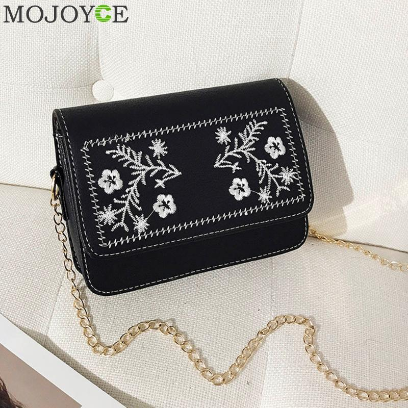 Women Crossbody Bag Famous Designer Long Chain Handbag Girl PU Leather Flowers Embroidery Messenger Bag Female Shoulder Bags Hot sgarr fashion pu leather casual tote bag famous brands small women embroidery handbag shoulder bags luxury female crossbody bag